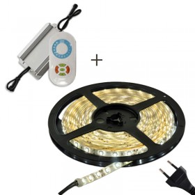 LED stripe / dimmer paket / LED list 5m varmvit 2700K med transformator IP65 och dimmer med fjärrkontroll