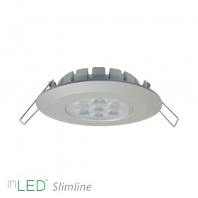 inLED Slimline 8W IP44 silver fast LED spotlight