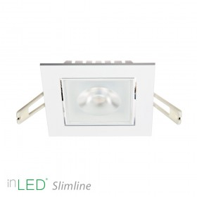 inLED Slimline 9W COB IP44 vit vinklingsbar fyrkantig LED spotlight
