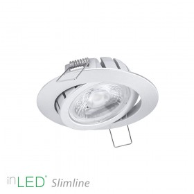 inLED Slimline 9W COB IP44 silverfärgad vinklingsbar rund LED spotlight