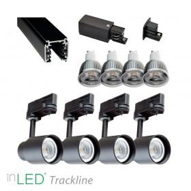 inLED Tracklight Retro paket - 4st GU10 armaturer med ljuskällor och skena, svart