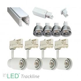 inLED Tracklight Retro paket - 4st GU10 armaturer med ljuskällor och skena, vit